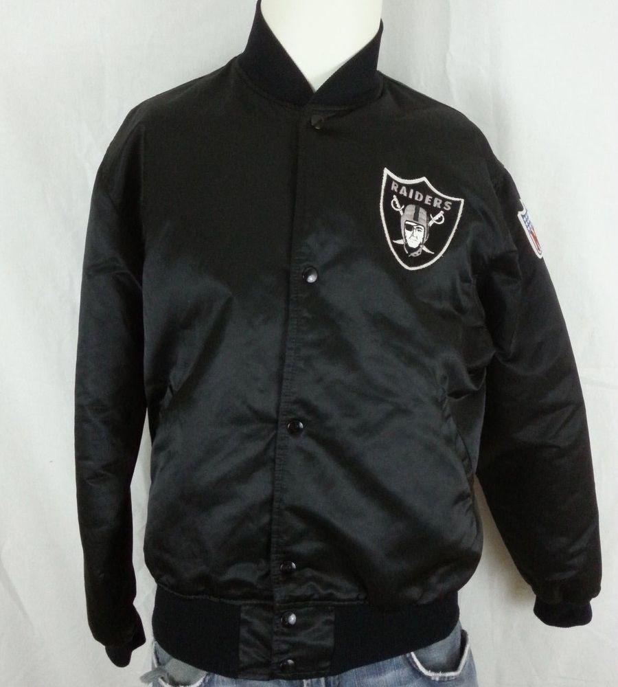 Vintage 80 S Oakland Raiders Nfl Football Starter Black Satin Jacket L Large Satin Jackets Black Satin Jackets
