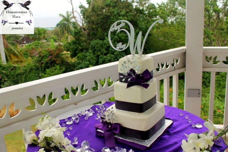 Purple Bow Glitz Modern Square Hummingbird Hall Jamaica Destination Wedding Cake Destination Wedding Jamaica Destination Wedding Venues Destination Wedding