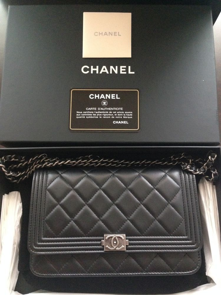 Finally mine!!! Chanel Wallet On Chain WOC Quilted Black Lambskin Le Boy NWT #CHANEL #MessengerCrossBody