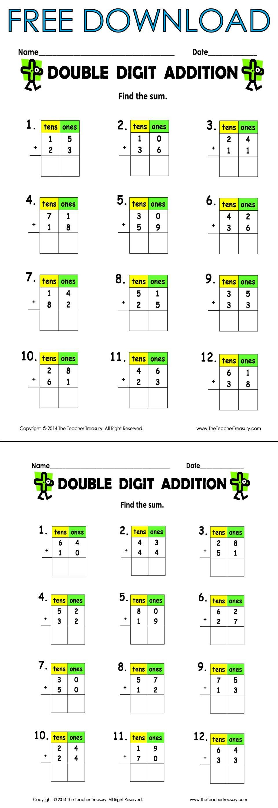 Free Double Digit Addition (without regrouping) 2 pages