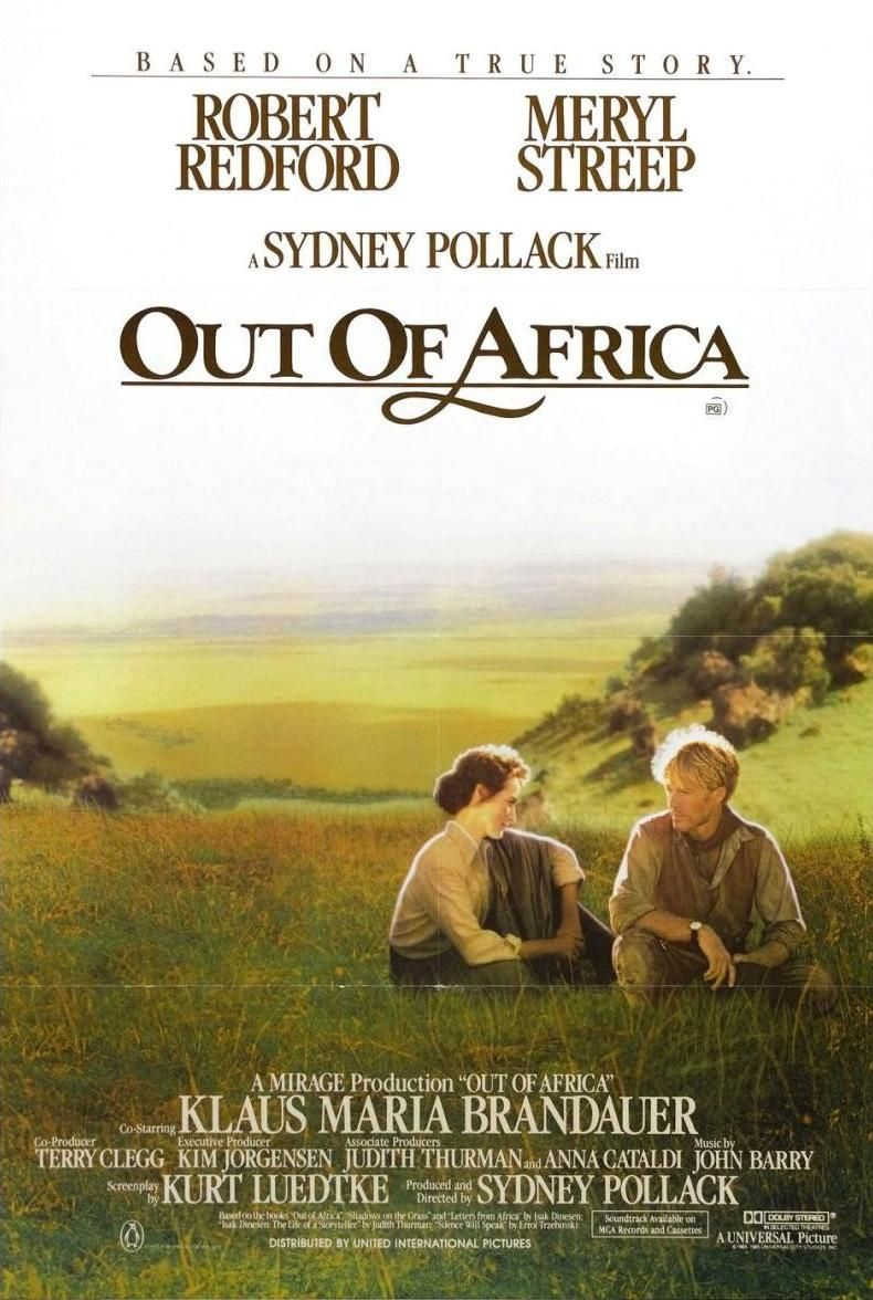 Libremente inspirada en la obra homónima de la escritora danesa Isak Dinesen. A principios del siglo XX, Karen (Streep) contrae un matrimonio de conveniencia con el barón Blixen (Brandauer), un mujeriego empedernido. Ambos se establecen en Kenia con el propósito de explotar una plantación de café. En Karen Blixen nace un apasionado amor por la tierra y por las gentes de Kenia. Pero también se enamora pérdidamente de Denys Finch-Hatton (Redford), un personaje aventurero y romántico.