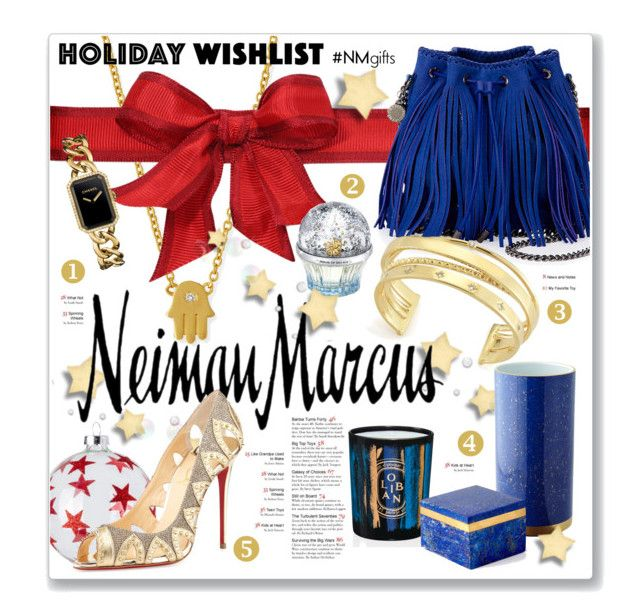 """""""The Holiday Wish List With Neiman Marcus: Contest Entry"""" by clovers-mind ❤ liked on Polyvore featuring Neiman Marcus, Sydney Evan, STELLA McCARTNEY, Chanel, Diptyque, Elizabeth and James, L'Objet, RabLabs, House of Sillage and Christian Louboutin"""