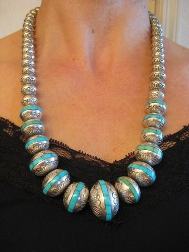 Stamped 925 Sterling Silver Turquoise Bead Gemstone Inlay Necklace