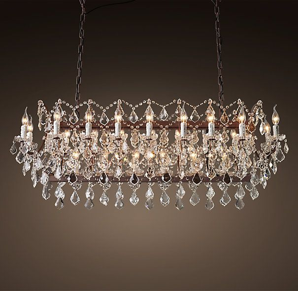 19th C Rococo Iron Clear Crystal Rectangular Chandelier 63