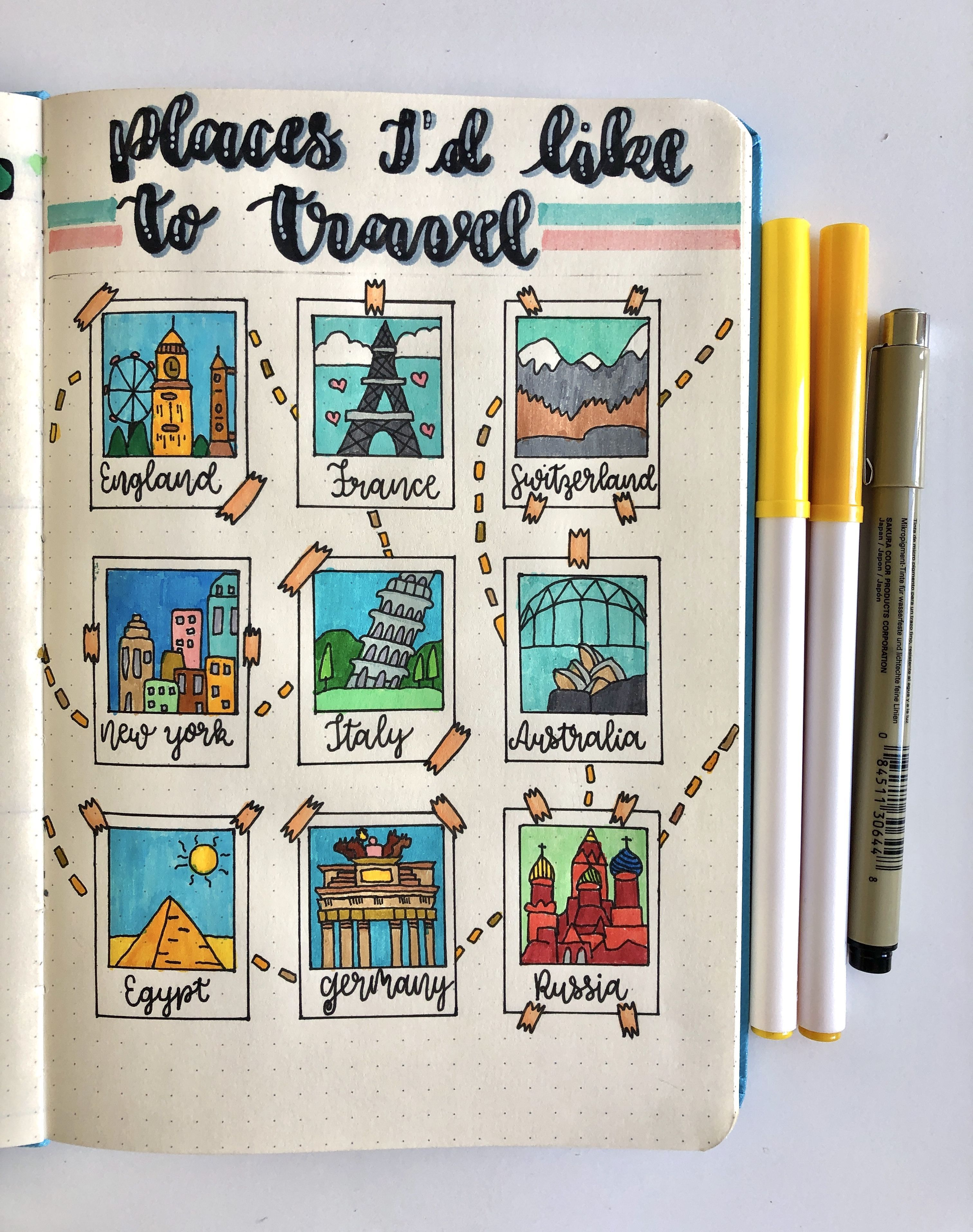 Travel bucket list ideas for your bujo