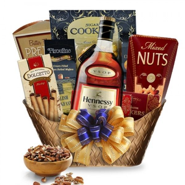 Hennessy Cognac Gift Basket-Cognac at its finest - Hennessy Cognac Gift Basket | spiritedgifts.com