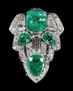 Art Deco de platino, diamantes y esmeralda Clip / colgante