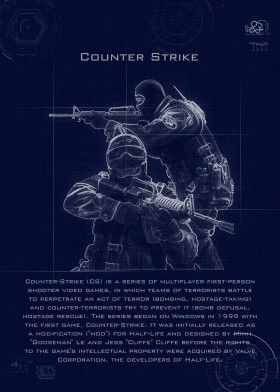counter strike blueprint | Displate thumbnail