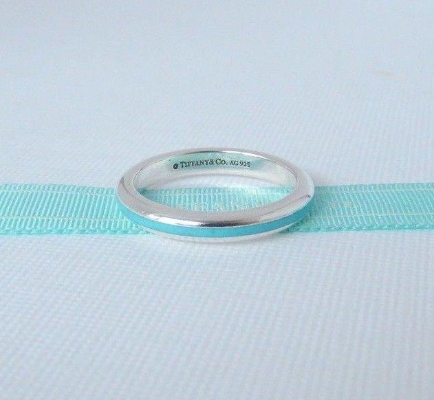45bf48f1b Tiffany & Co Size 6.5 Silver Blue Enamel Stripe Ring Band with Pouch # TiffanyCo #Band