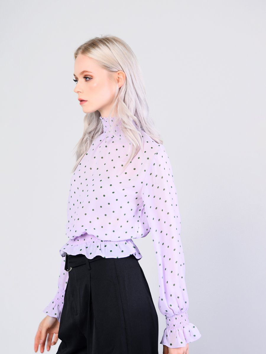 801b82603ae Lilac Green Spot High Neck Shirred Blouse | Glamorous | Polka Dots ...
