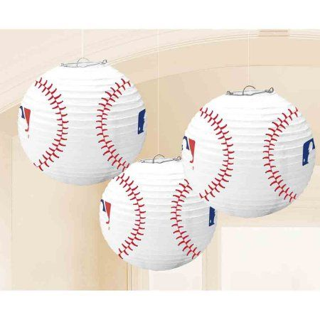 Paper Lanterns Walmart Endearing Free Shippingbuy Baseball Lanterns 3 Count  Party Supplies At Decorating Inspiration