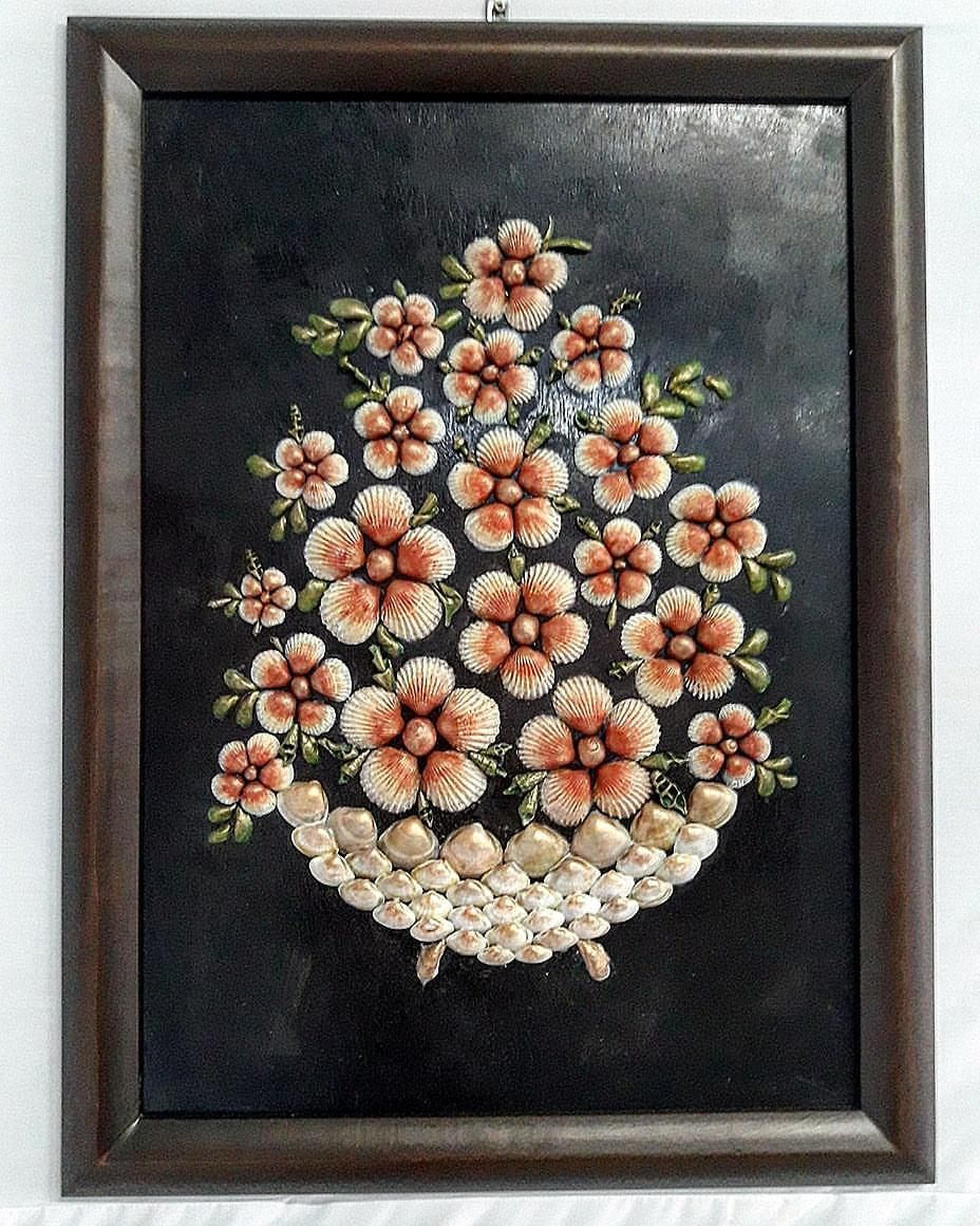 Flowers In Vase Acrylic Painting On Diverses Sea Shells
