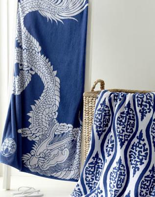 Chinoiserie beach towels, love that dragon!