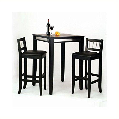 Bowery Hill 3 Piece Pub Set In Black Pub Table Sets Pub 400 x 300