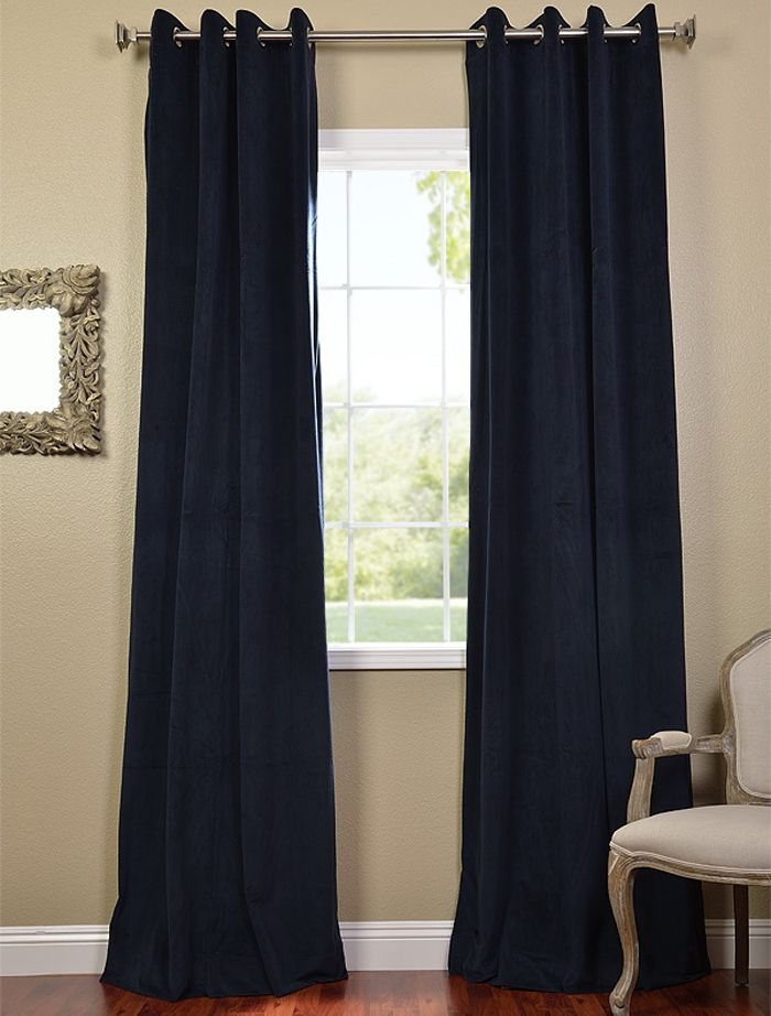 Signature Midnight Blue Grommet Blackout Velvet Curtains Blackout Curtains Curtains Velvet Curtains
