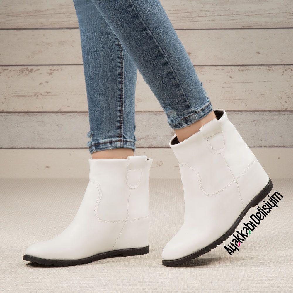 Gizli Topuklu Bir Bot Jeanlerin Altina Cok Yakisacak Heels White Boots Bayan Ayakkabi Bot Topuklular
