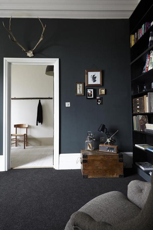 dramatic living room with black walls,  dramatic living room with black walls,