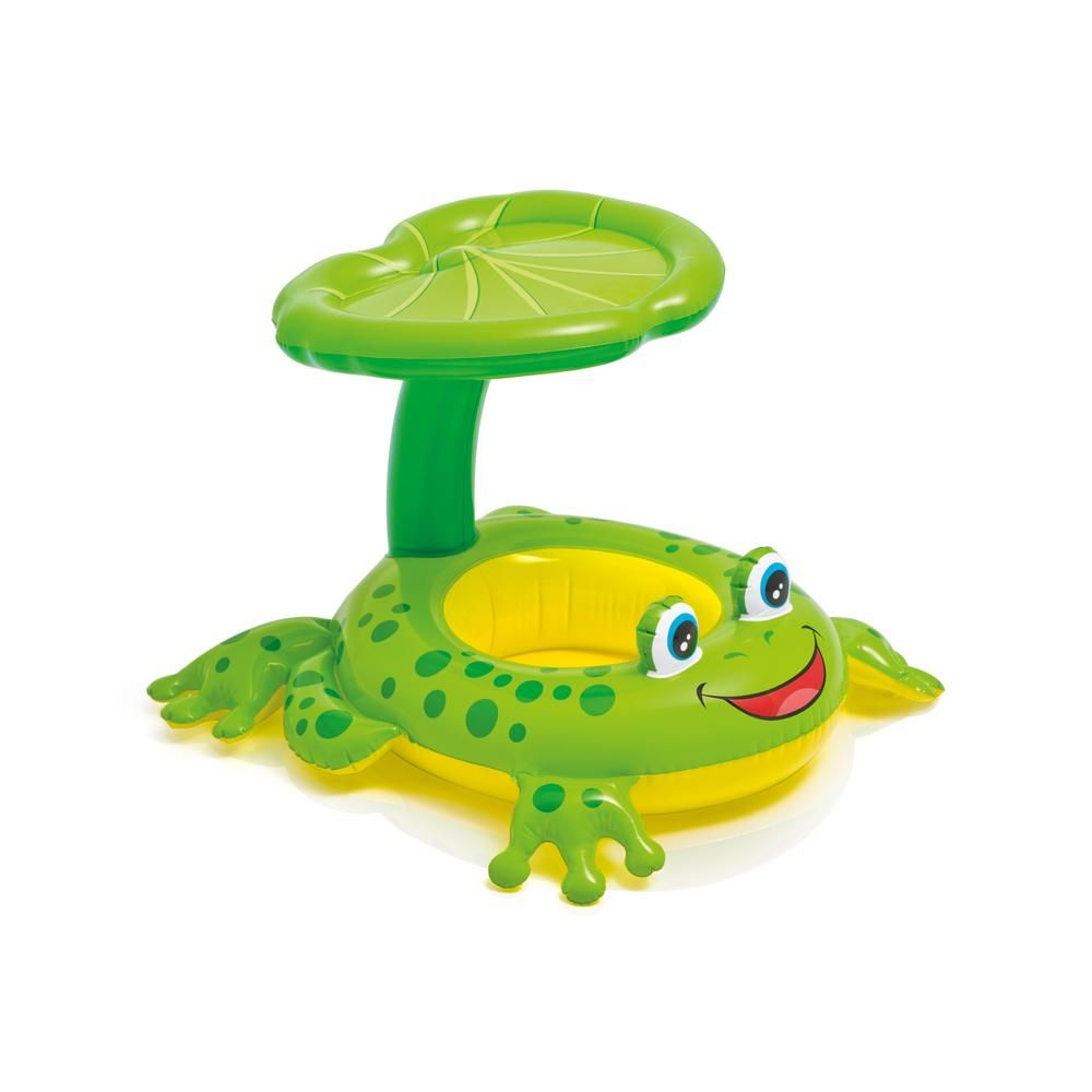 Intex Froggy Friend Shade Canopy Baby Pool Float 6 Pack 6 X 56584ep The Home Depot In 2020 Baby Pool Floats Baby Float Baby Pool