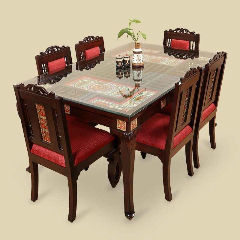 Teak Wood 6 Seater Dining Table Chair With Warli Dhokra Work