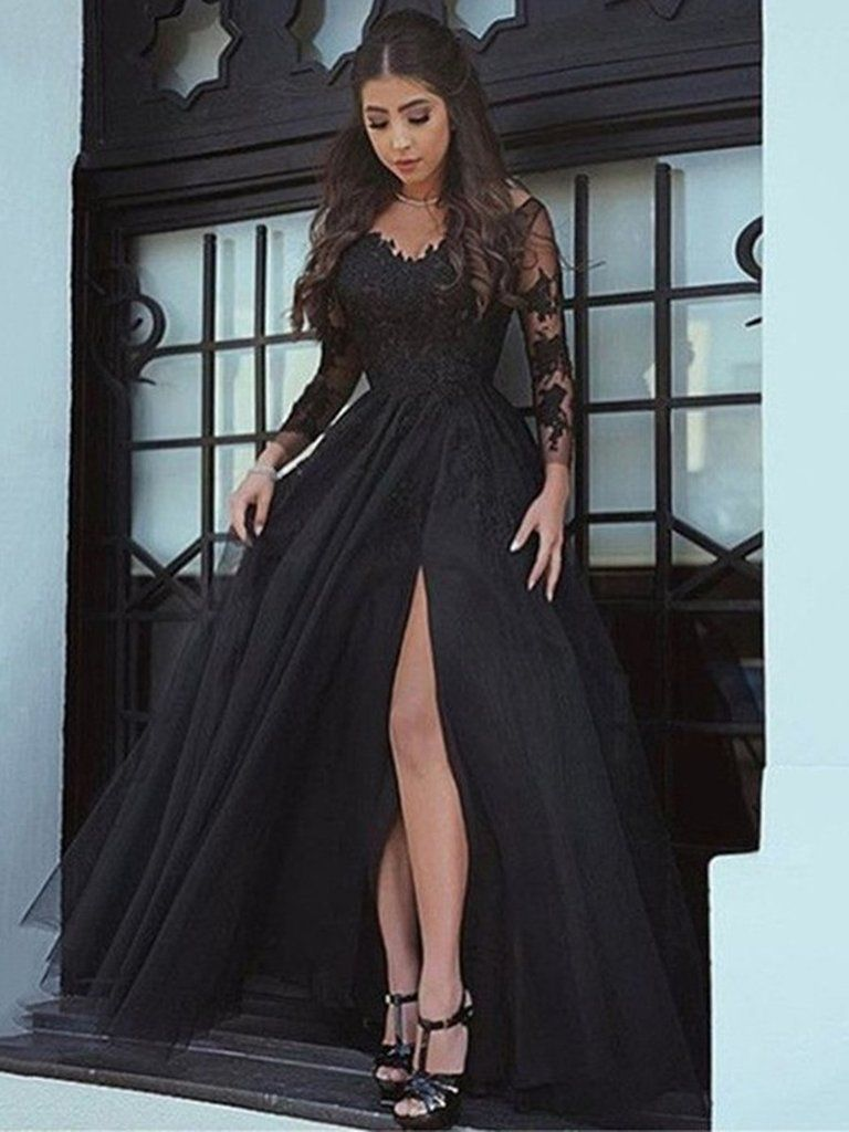 A line backless long sleeves black lace prom dresses black lace