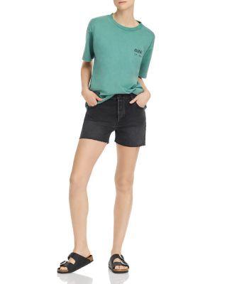 Anine Bing Bonnie Denim Cutoff Shorts in Charcoal #denimcutoffshorts