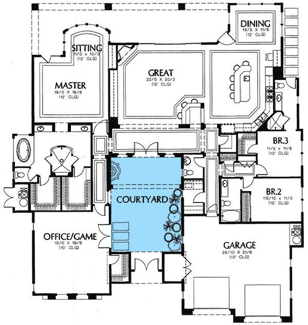 Central Courtyard Courtyard House Plans House Floor Plans Mediterranean House Plans