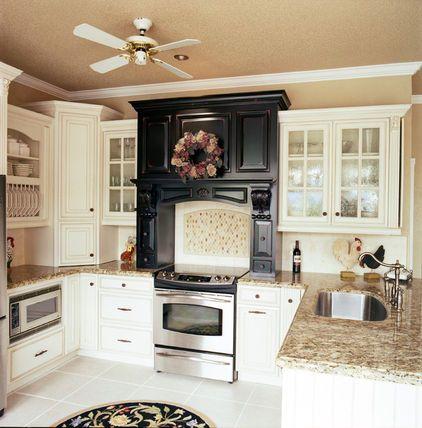 Combo Of Almond Glazed Cabinets Tan Walls Espresso Kitchen