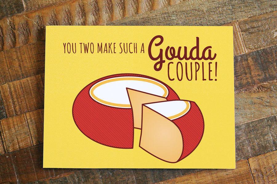 Funny cheese wedding card gouda couple wedding humor