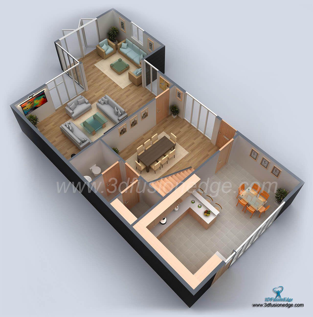 3d Floor Plan Virtual Presentation Architectural Floor Plans Floor Plans Sims House Design
