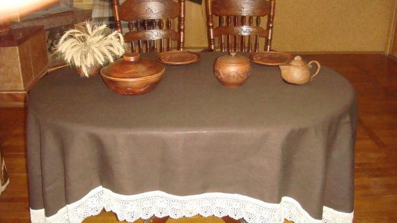 Tablecloth Round Oval Brown Linen By Steelwoodstonesws On Etsy