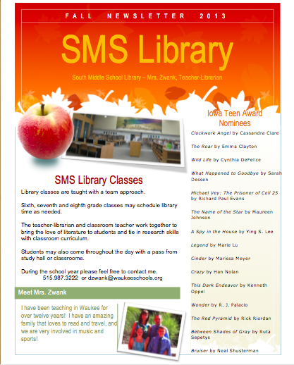 South Middle School Fall Newsletter   Iowa School Libraries