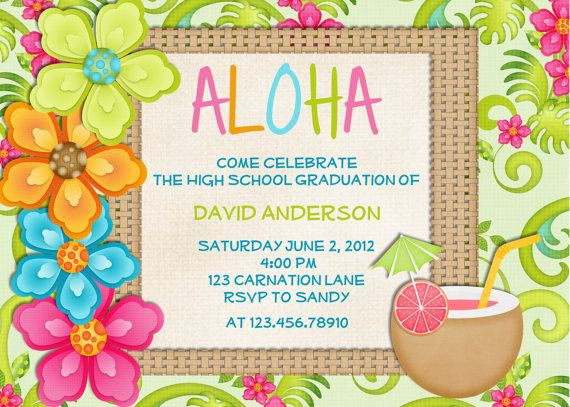 Luau Birthday Invitation Sweet 16 Tropical Hawaiian Hula Party – Tropical Birthday Invitations