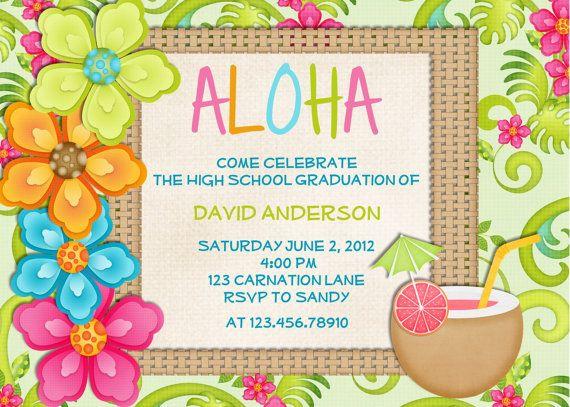 Luau Birthday Invitation Tropical Hawaiian Hula Party