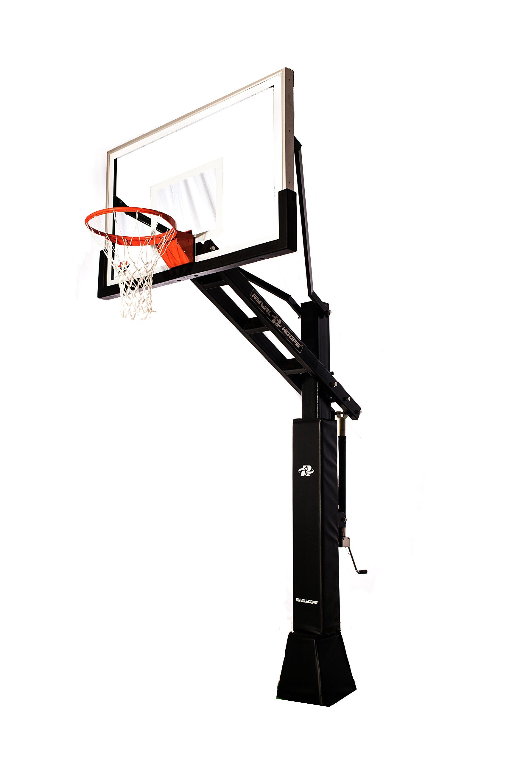 Ryval C660 Basketball Hoop 60 Clear View Tempered Glass Backboard Height Adjustable For Ch In Ground Basketball Goal Home Basketball Court Basketball Hoop