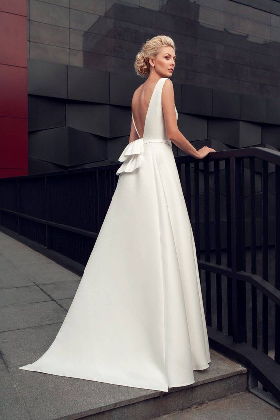 47a11ffd42a modern wedding gown modern wedding dress simple stylish elegant wedding  long train wedding dress minimalist white ivory blush classic bride