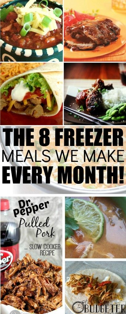 The best freezer to slow cooker meals! The 8 Freezer Meals We Make Every Month. BEST PIN EVER!!! I've Made all of these and my family loved every one! I love freezer cooking and we struggle to find the recipes that are family staples. This did the job! We made 7 of the 8 part of our monthly rotation too! Thank you!