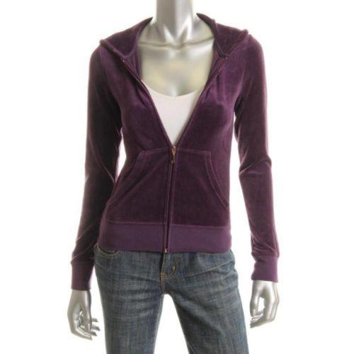 Juicy Couture New Purple Metallic Velour Hoodie M BHFO