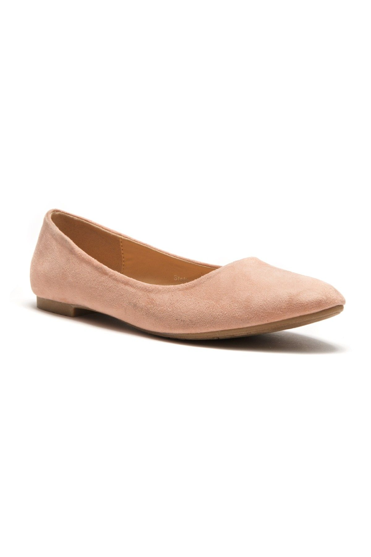 cf1d884dea HerStyle Women's Manmade Nstaffno Simple Faux Suede Pointy Toe Flats - Pink