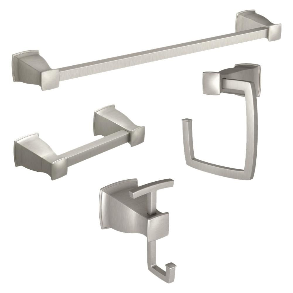 Moen Hensley Press And Mark 4 Piece Bath Set With 24 In Towel Bar Towel Ring Paper Holder And Robe Hook In Brushed Nickel My35kitbn The Home Depot Towel Bar Bathroom Hardware Brushed nickel towel bar set
