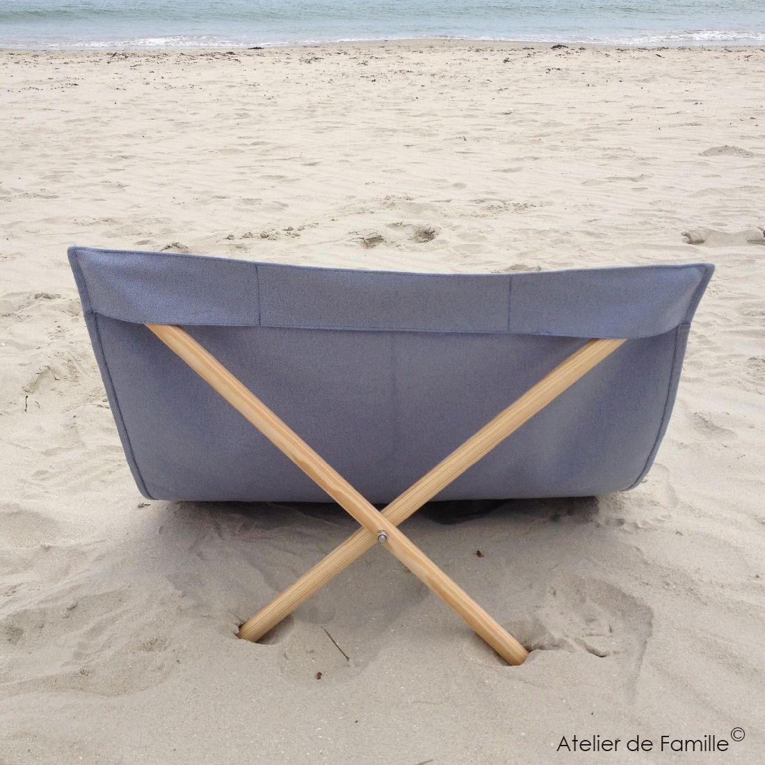 transat de plage bleu gris - Transat De Plage