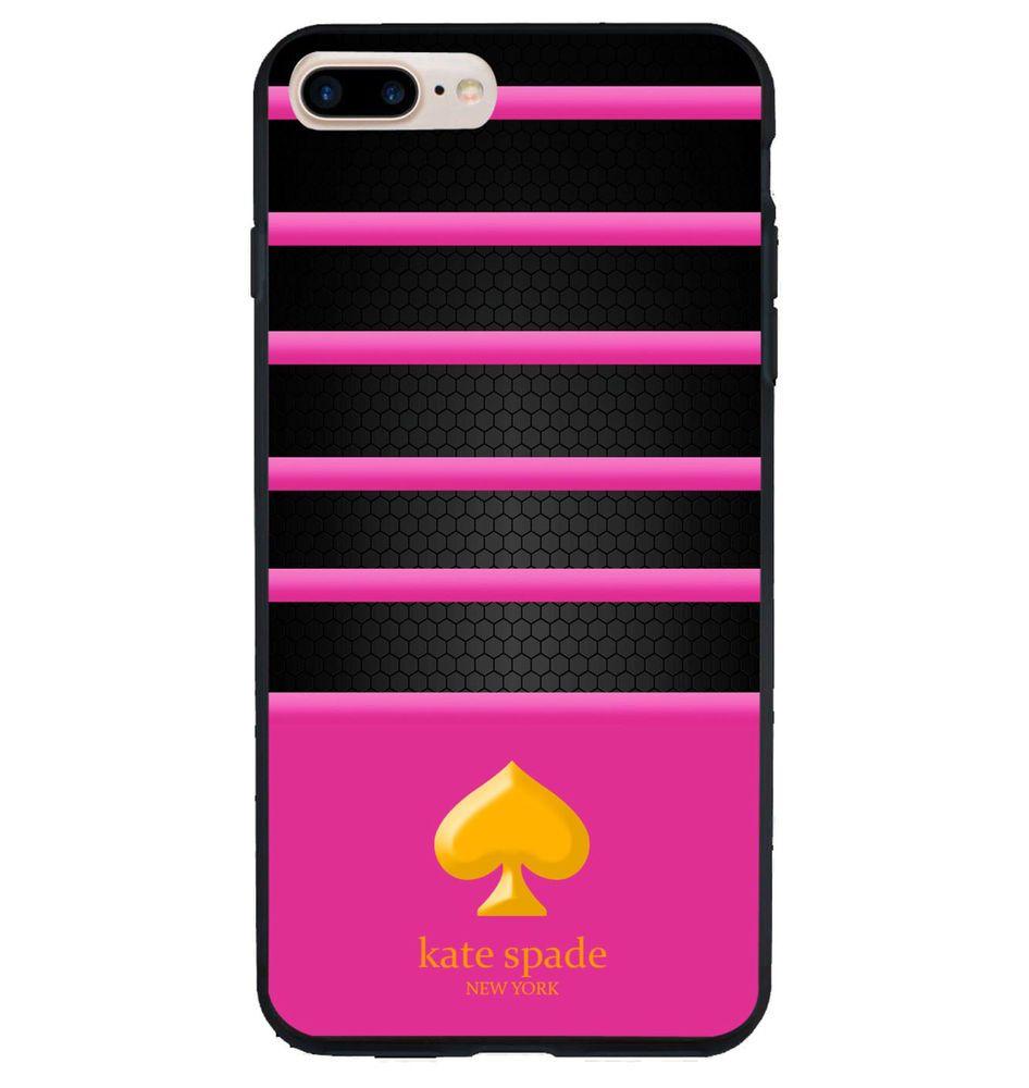 New kate spade logo pink stripes cute hard plastic case