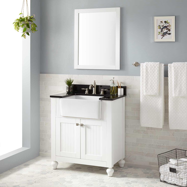 30 nellie farmhouse sink vanity white bathroom