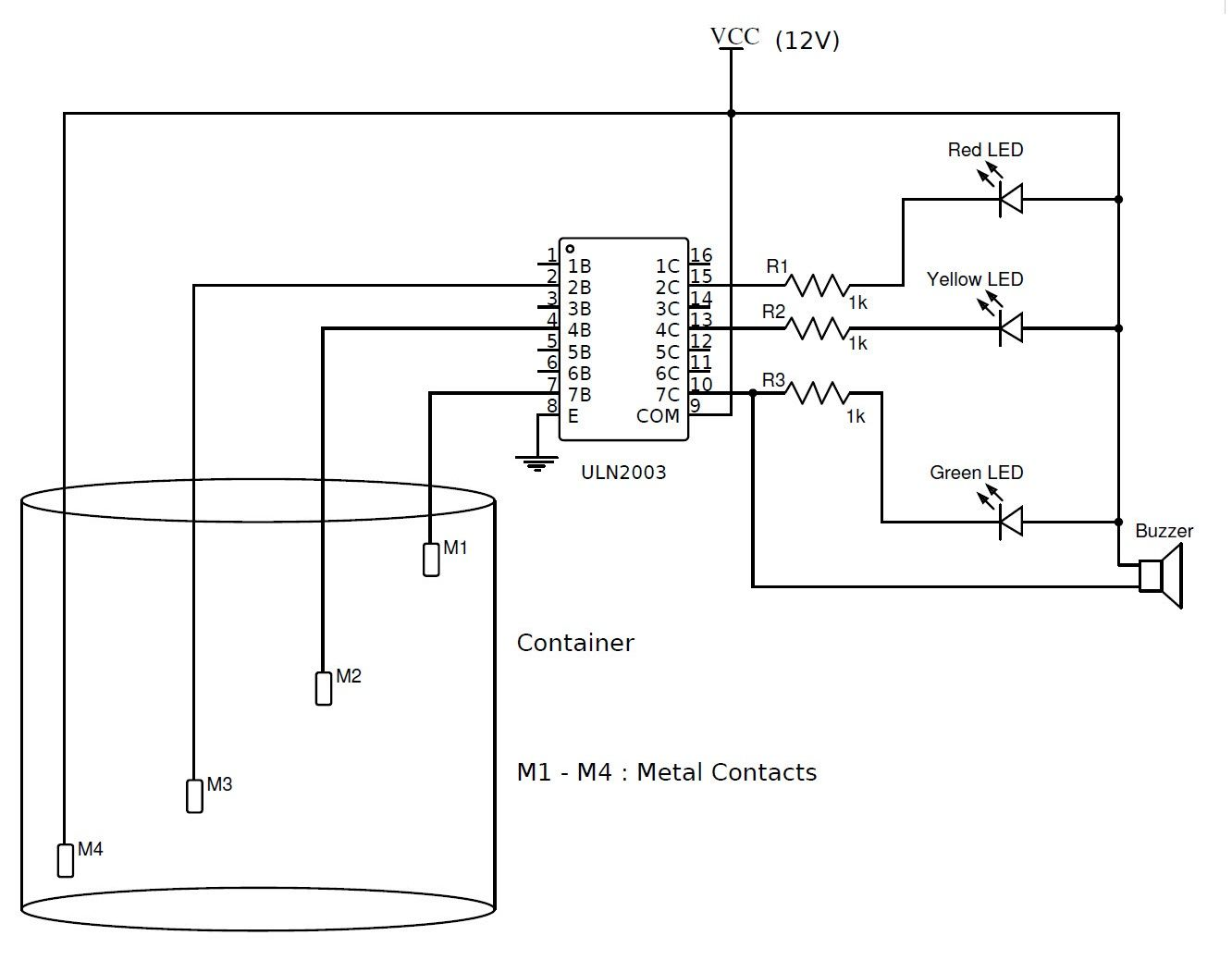 Water Level Indicator using ULN2003 Circuit Simple Circuit, Dc Circuit, Circuit  Diagram, Electronics