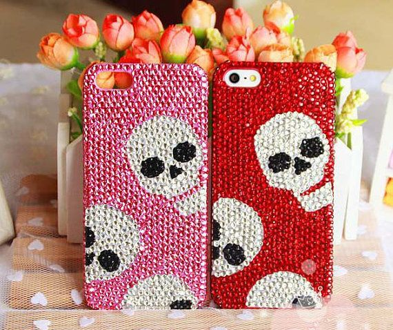 Diy Bling iPhone 5 Case Black iPhone 5 Case Bling iPhone 4s Red Pink iPhone 5s Case iPhone 5 Case Bling Cool Crystal Skull iPhone Case