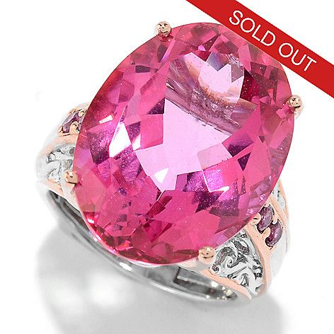 151-722 - Gems en Vogue 20.70ctw Pink Topaz & Rhodolite Cocktail Ring