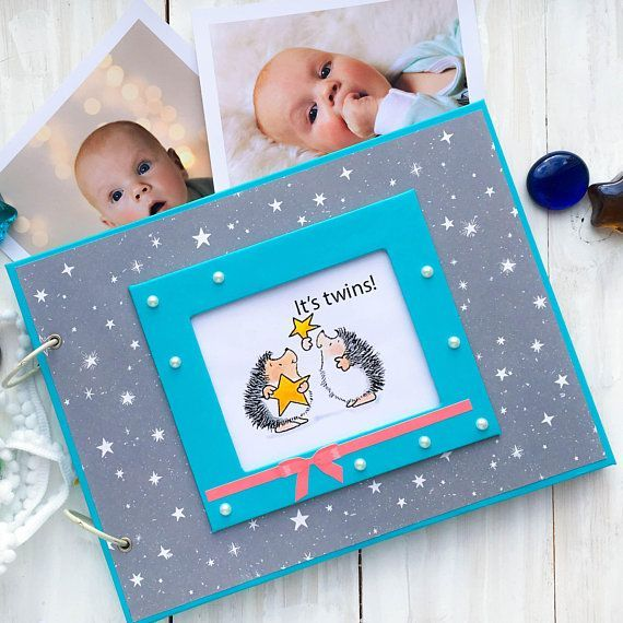 Printable photo album for TWINS Baby record book Kid's first year notebook Custom keepsake journal with hedgehog Twins baby shower gift #babyrecordbook Printable photo album for TWINS Baby record book Kid's first year notebook Custom keepsake journal w #babyrecordbook
