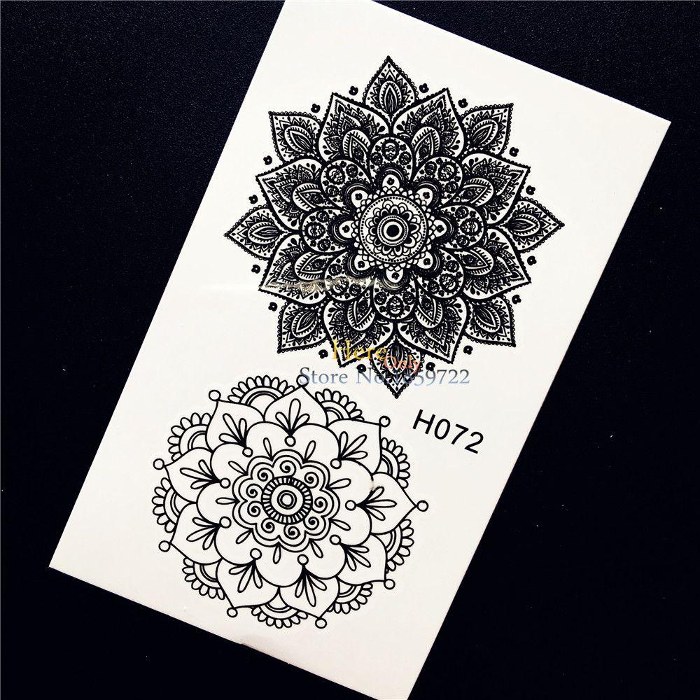1pc black ink henna flower temporary tattoo sticker diy
