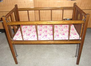 Vintage Baby Doll Crib Play Kids Toy Furniture Wood Wooden
