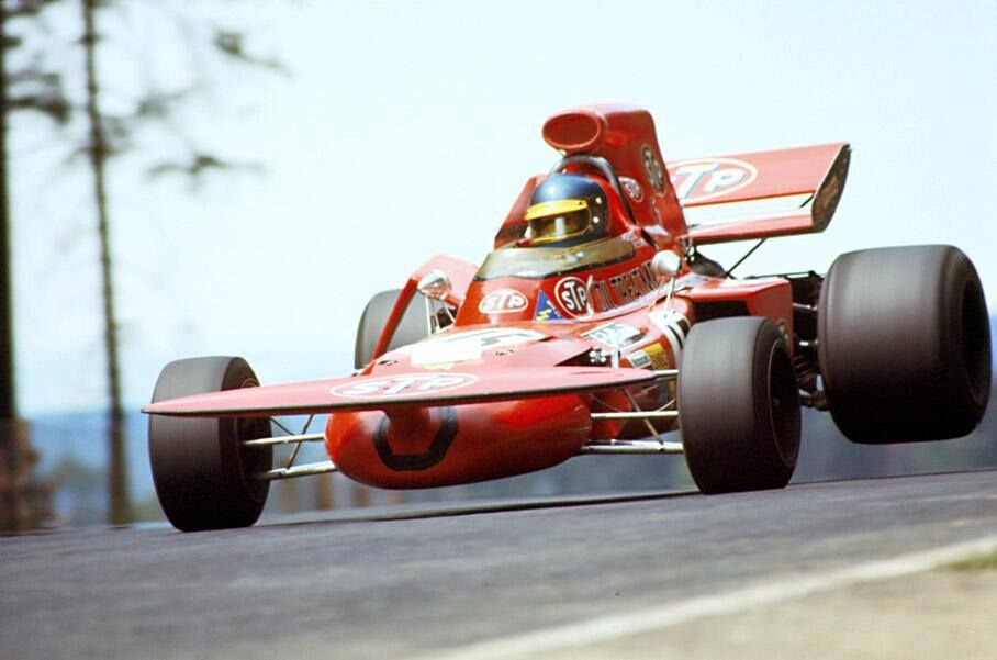 "Wow I just stumbled across this great photo! The front wing looks like its made from an old skateboard! At the time it was referred to as the ""tea-tray"" :-)   Ronnie Peterson driving a ""March 711"" at the Nurburgring Nordschleife in 1971."