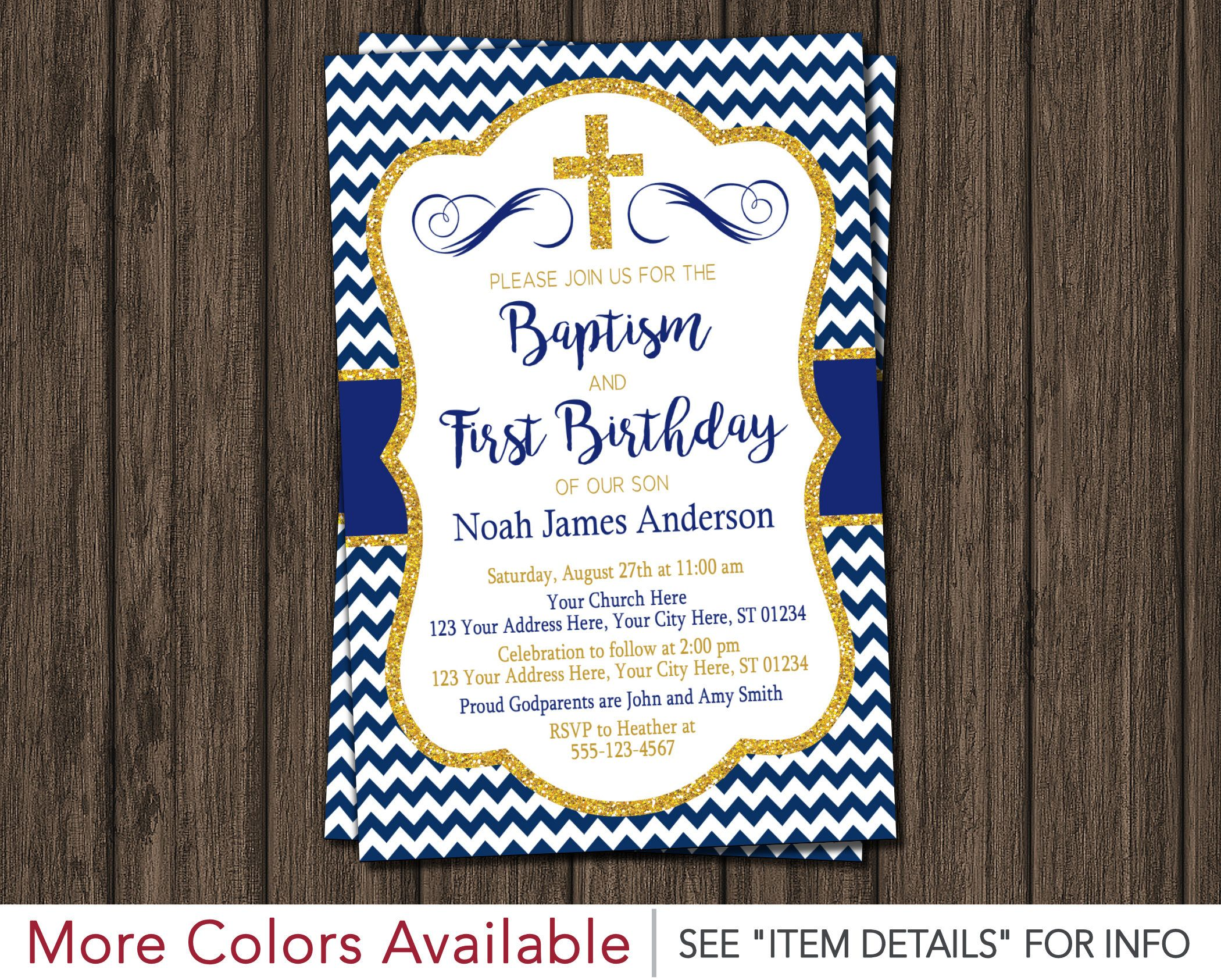 Boy Baptism and First Birthday Invitation - Printable Baptism and ...
